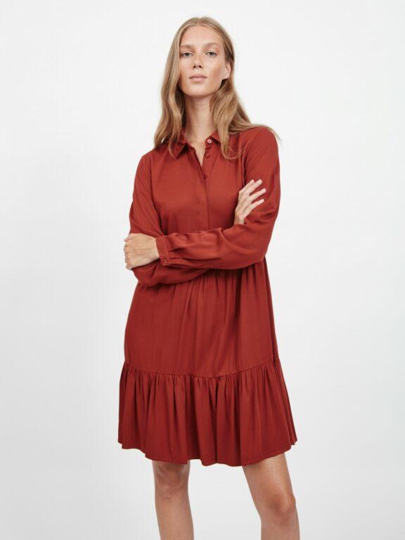 VIMOROSE L/S DRESS BURNT HENNA
