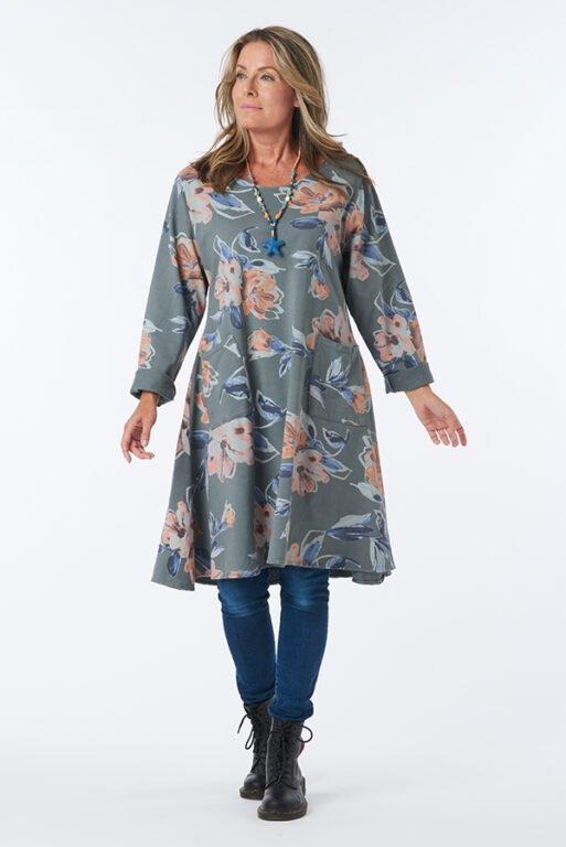 GREY FLOWER DRESS